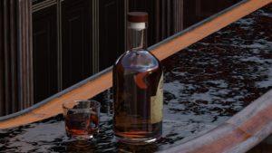 bouteille de spiritueux sur bar