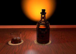 bouteille spiritueux avec verre